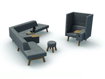 Akoestische en modulaire loungeplek Hybrid