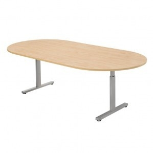 Ovale vergadertafel 240 x 120 cm T-poot hoogte instelbaar