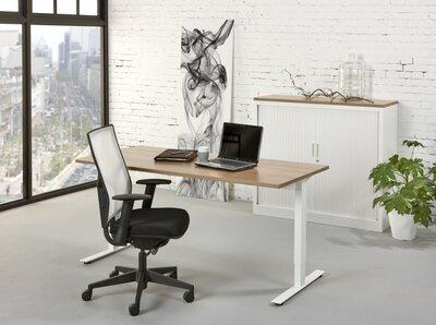 Ergo bureau 120 x 80 cm T-poot hoogte met slinger verstelbaar
