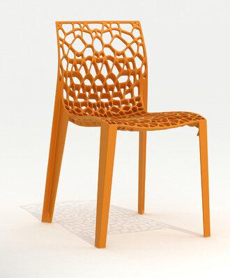 Coral kunststof design stoel met creatieve honingraat.