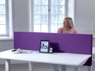 Bureauwand akoestisch met plexiglas bovendeel